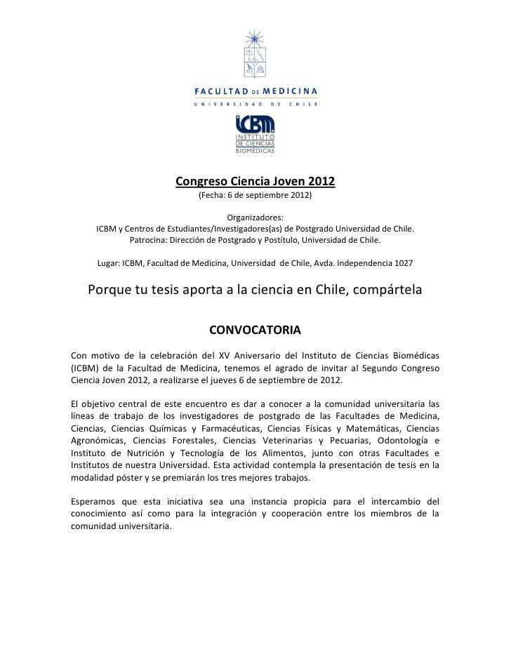 Congreso Ciencia Joven 2012                                (Fecha: 6 de septiembre 2012)                                  ...