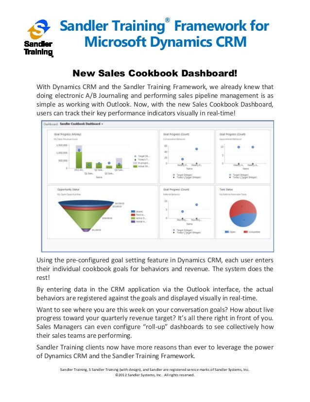 Sandler Framework for Microsoft Dynamics CRM Framework -Cookbook Sales Dashboard Overview