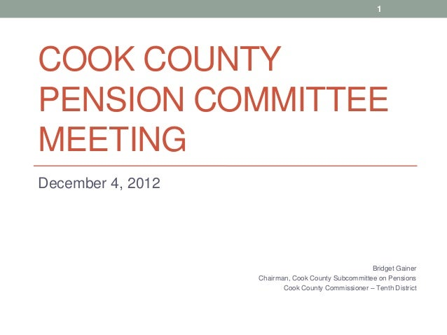 County Pension Committee Meeting: December 4, 2012