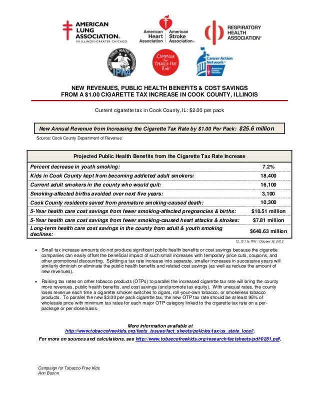 NEW REVENUES, PUBLIC HEALTH BENEFITS & COST SAVINGS              FROM A $1.00 CIGARETTE TAX INCREASE IN COOK COUNTY, ILLIN...