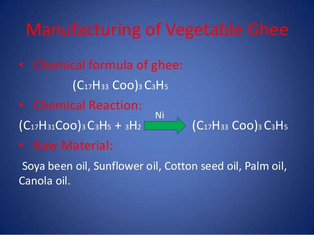 Cooking oil and ghee processing H2 Structural Formula
