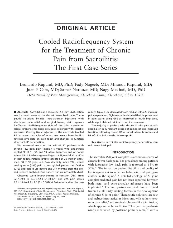 ORIGINAL ARTICLE                         Cooled Radiofrequency System                          for the Treatment of Chroni...