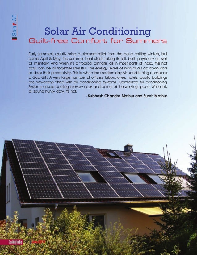 Solar Air Conditioning - Cooling India Journal, June 2011