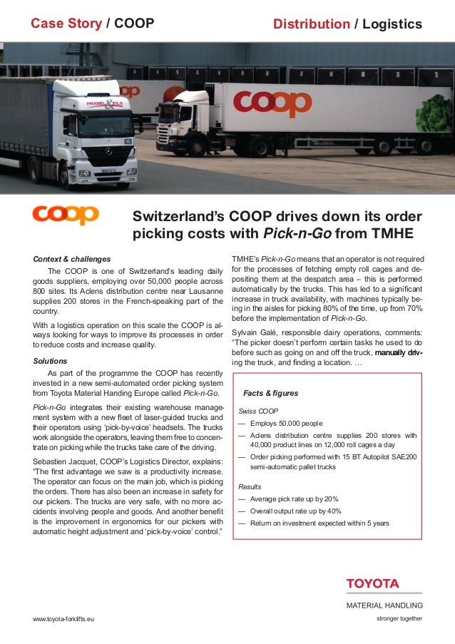 COOP Reports Benefits of Using TMHE's Pick-n-Go Forklift