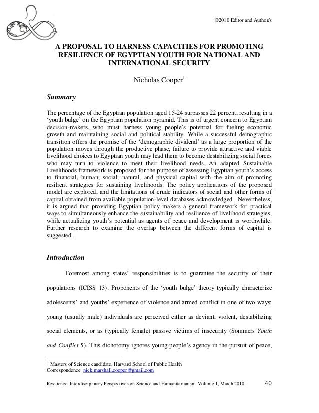 ©2010 Editor and Author/s    A PROPOSAL TO HARNESS CAPACITIES FOR PROMOTING     RESILIENCE OF EGYPTIAN YOUTH FOR NATIONAL ...