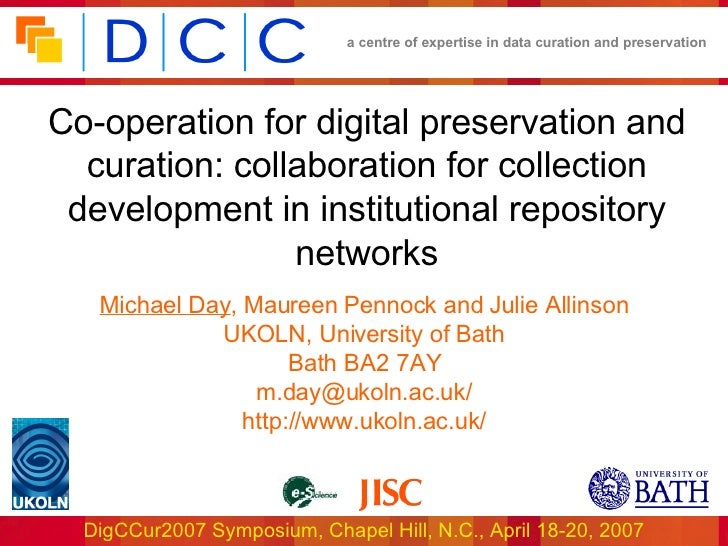 Co-operation for digital preservation and curation: collaboration for collection development in institutional repository n...