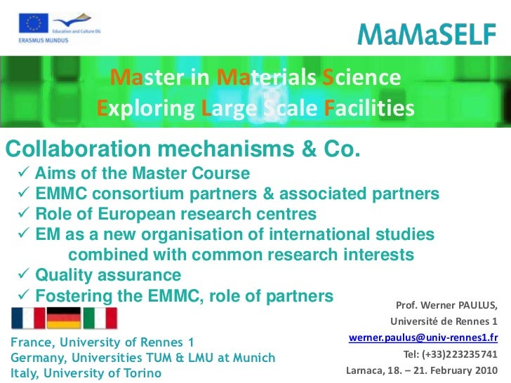 Master in Materials Science             Exploring Large Scale FacilitiesCollaboration mechanisms & Co.  Aims of the Maste...