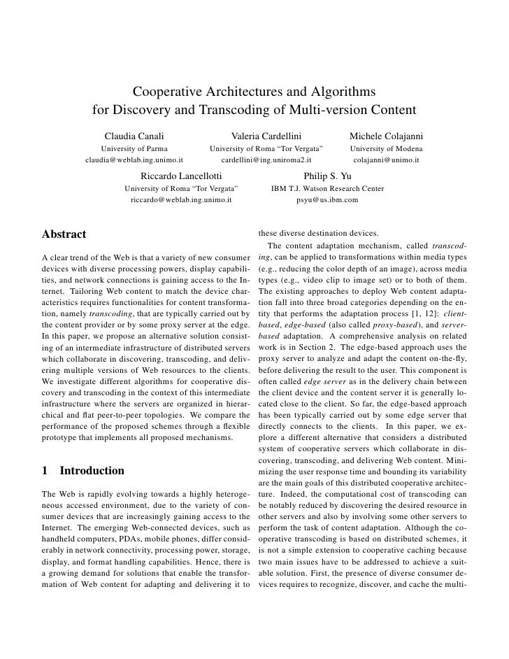 Cooperative Architectures and Algorithms               for Discovery and Transcoding of Multi-version Content             ...