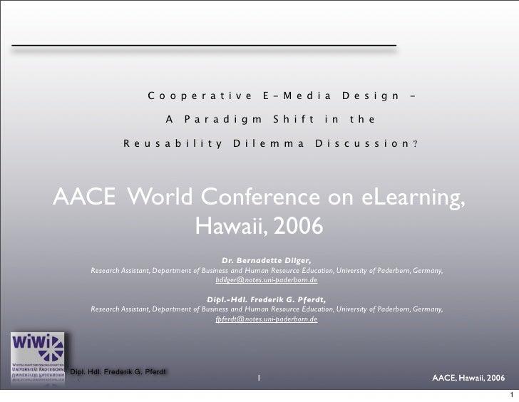 Co-operative eMedia Design - A paradigm shift in the reusability discussion