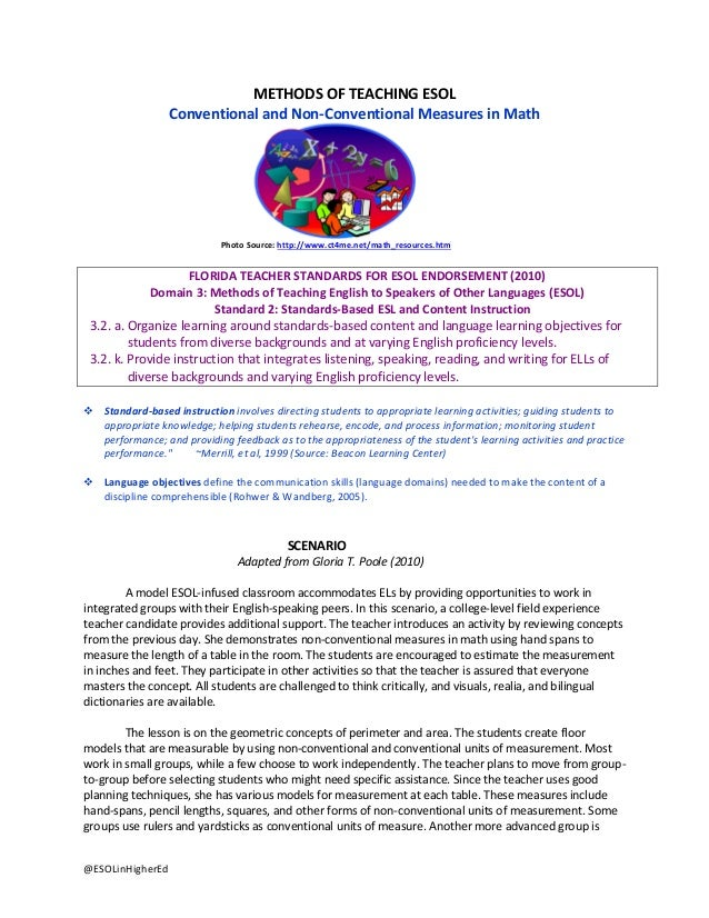 METHODS OF TEACHING ESOL Conventional and Non-Conventional Measures in Math  Photo Source: http://www.ct4me.net/math_resou...