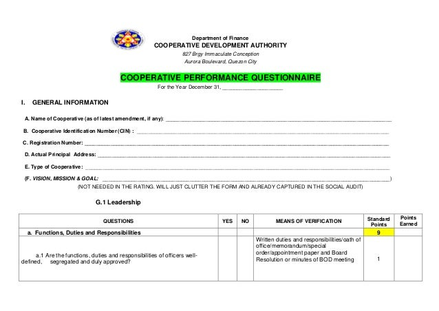 Cooperative Performance Questionnaire 1132013