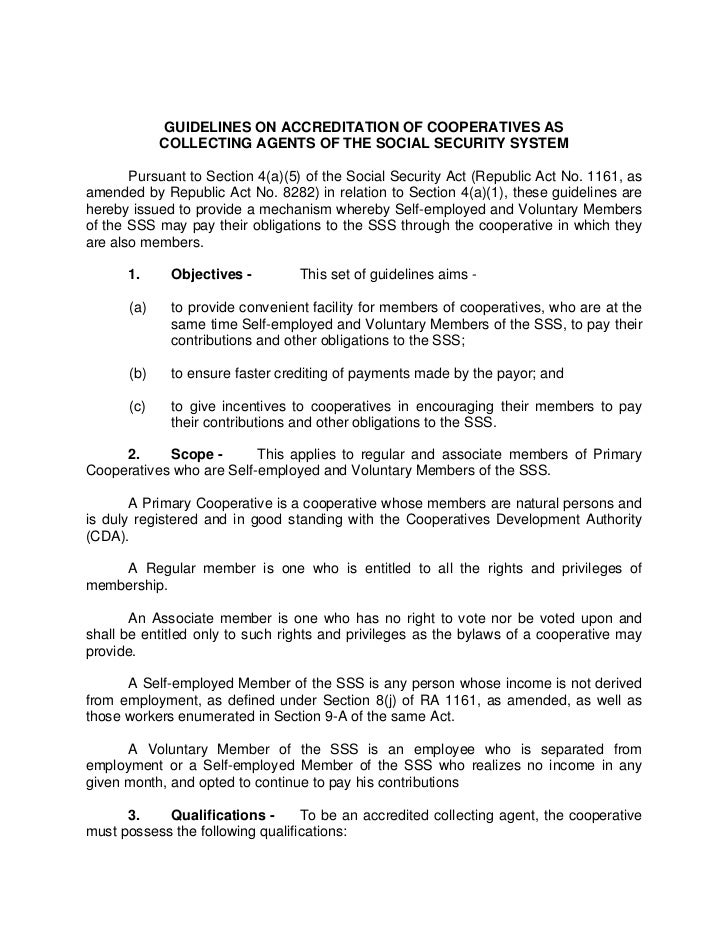GUIDELINES ON ACCREDITATION OF COOPERATIVES AS            COLLECTING AGENTS OF THE SOCIAL SECURITY SYSTEM       Pursuant t...