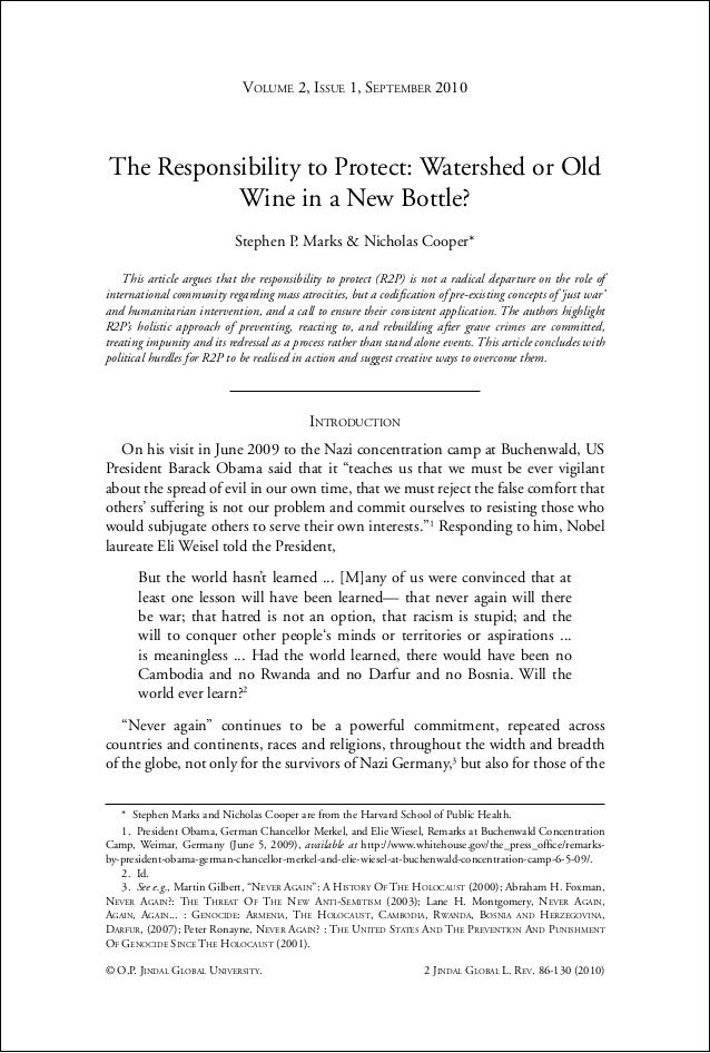 The Responsibility to Protect: Watershed, or old wine in a new bottle?