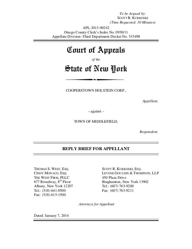 NY Town Ban Court Case: Cooperstown Holstein Appellate Reply Brief
