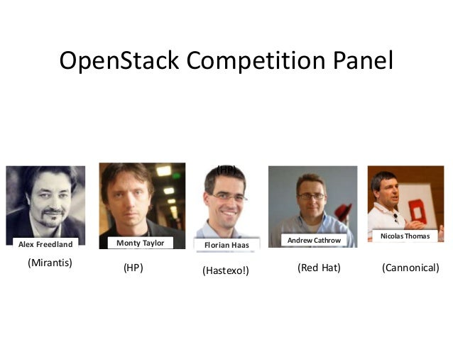 OpenStack Competition Panel  (HP)  Alex Freedland  (Mirantis)  Monty Taylor  (HP)  Florian Haas  (Hastexo!)  Andrew Cathro...