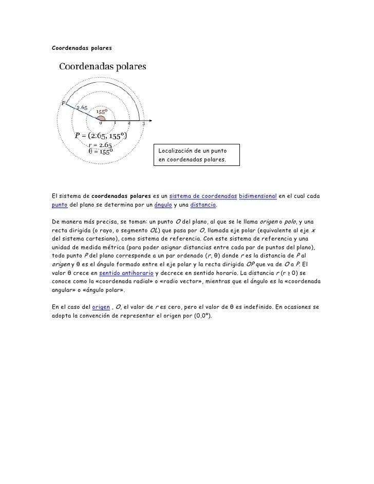 Coordenadas polares                                       Localización de un punto                                       e...