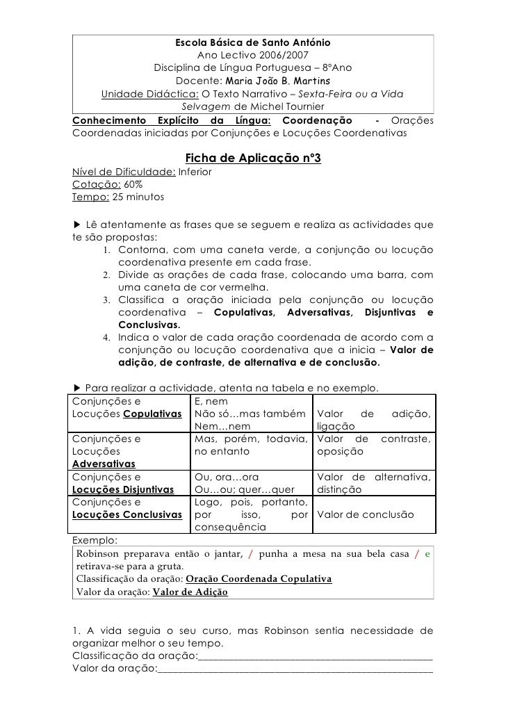 CoordenaçãO   Ficha 3