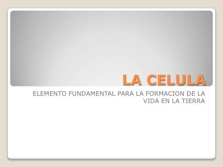 LA CELULA<br />ELEMENTO FUNDAMENTAL PARA LA FORMACION DE LA VIDA EN LA TIERRA<br />
