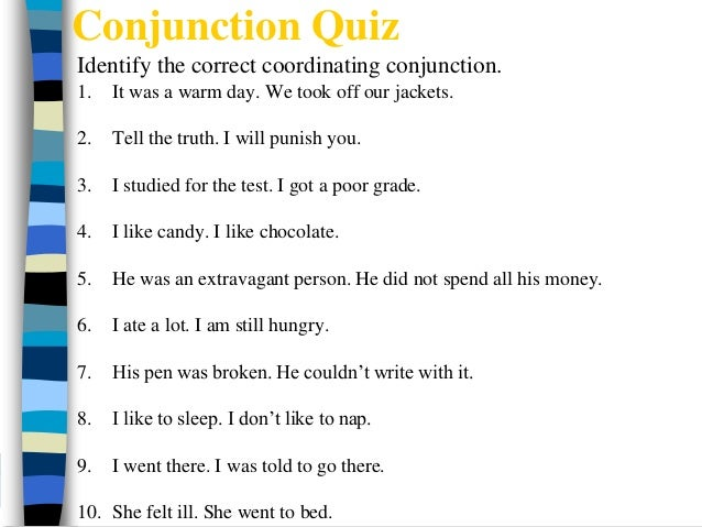 Conjunctions worksheets for grade 7