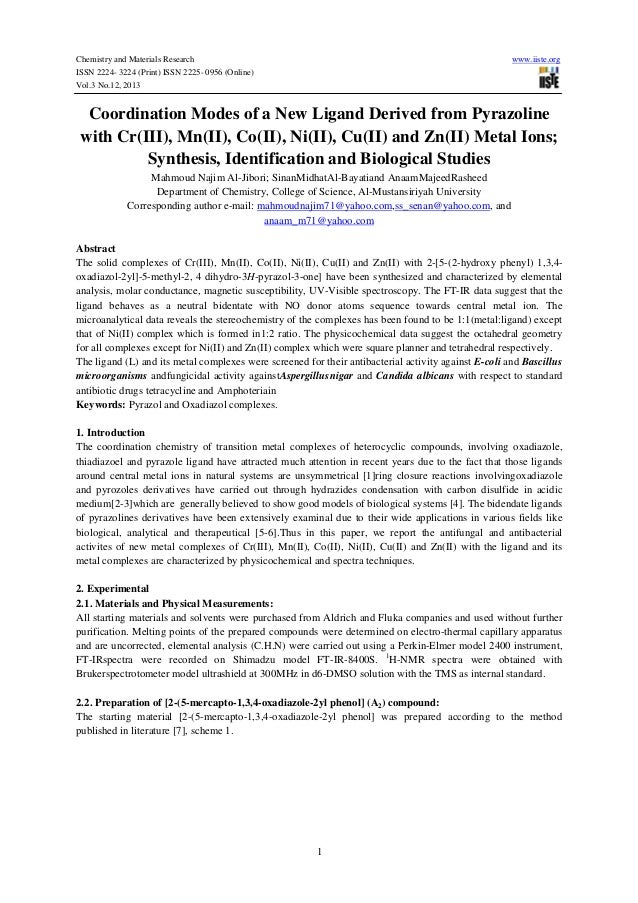 Chemistry and Materials Research ISSN 2224- 3224 (Print) ISSN 2225- 0956 (Online) Vol.3 No.12, 2013  www.iiste.org  Coordi...