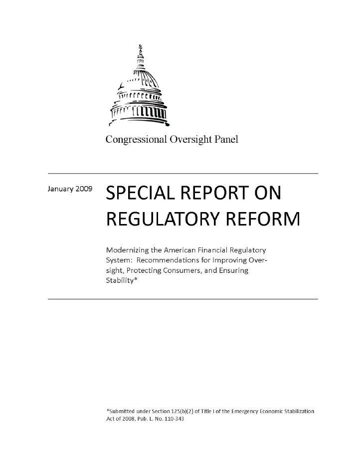Cop 012909-report-regulatoryreform