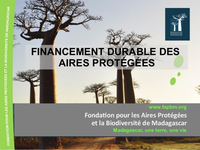 FINANCEMENT DURABLE DES AIRES PROTÉGÉES Fonda&onpourlesAiresProtégées etlaBiodiversitédeMadagascar www.fapbm.or...