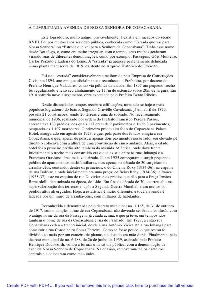 A TUMULTUADA AVENIDA DE NOSSA SENHORA DE COPACABANA.                  Este logradouro, muito antigo, provavelmente já exis...