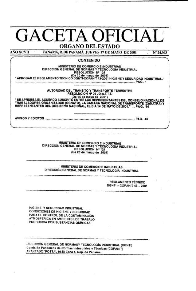 """GACETA OFICIAL 'ORGANO DEL ESTADO AÑOXCVII PANAMA, R DE PANAMA JUEVES 17DE MAYO DE 2001 / N""""24,303 CONTENIDO MINISTERIO DE..."""