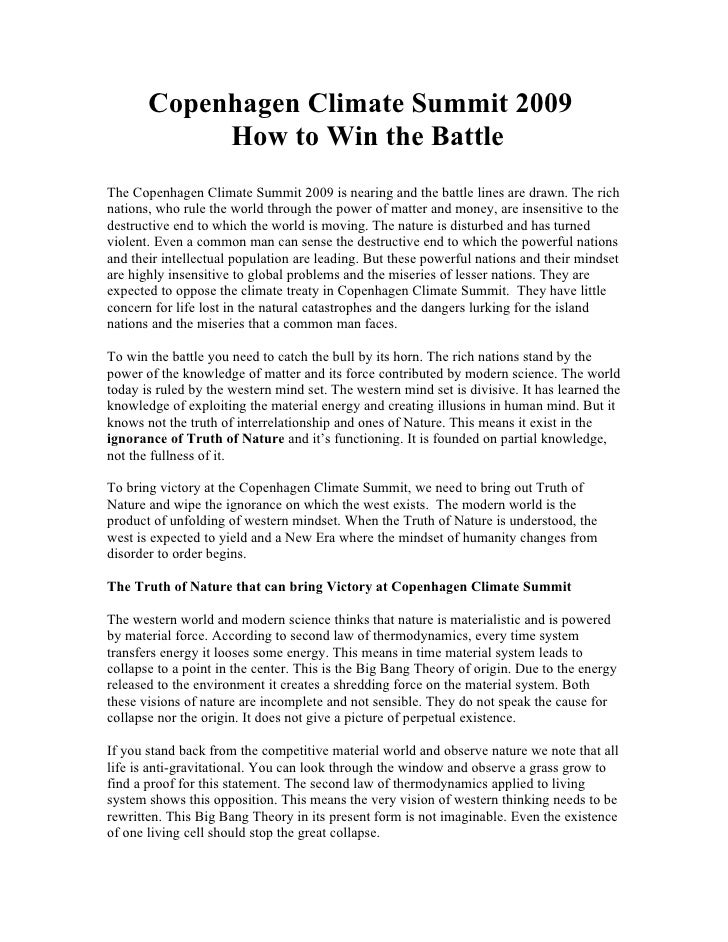 Copenhagen Climate Summit 2009 - How to Win the Battle and save Earthand Humanity
