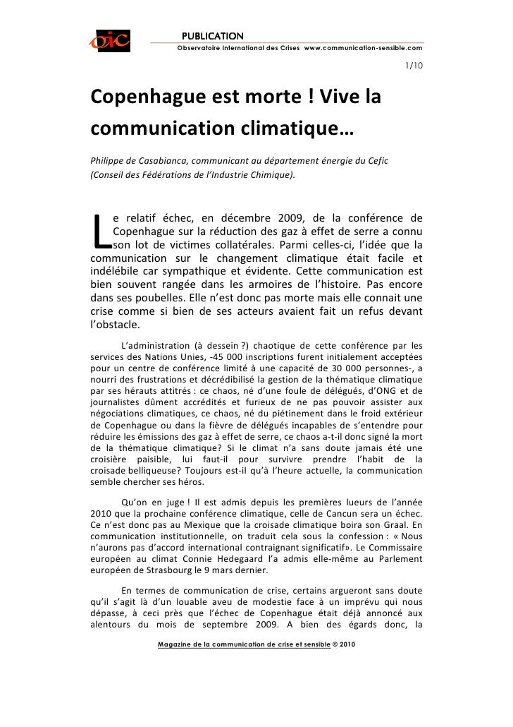 PUBLICATION                      Observatoire International des Crises www.communication-sensible.com                     ...