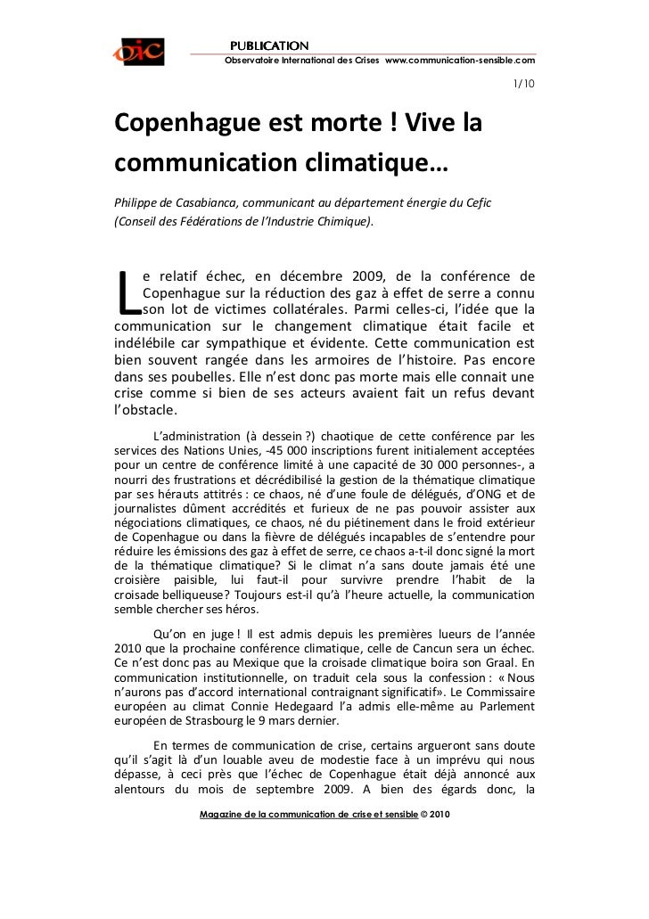 PUBLICATION                     Observatoire International des Crises www.communication-sensible.com                      ...