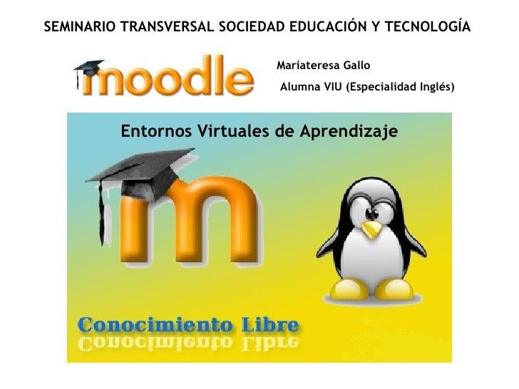 Maríateresa Gallo Alumna VIU (Especialidad Inglés) SEMINARIO TRANSVERSAL SOCIEDAD EDUCACIÓN Y TECNOLOGÍA Entornos Virtuale...