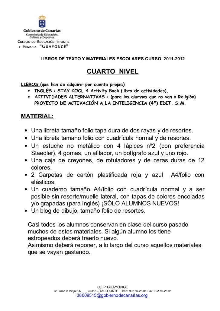 """COLEGIO DE EDUCACIÓN INFANTILY PRIMARIA """"G U A Y O NG E """"            LIBROS DE TEXTO Y MATERIALES ESCOLARES CURSO 2011-201..."""