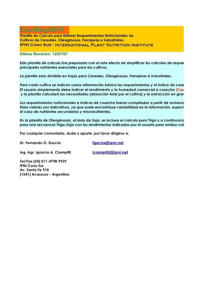 CalcReq2007 Planilla de Calculo para Estimar Requerimientos Nutricionales de Cultivos de Cereales, Oleaginosos, Forrajeras...