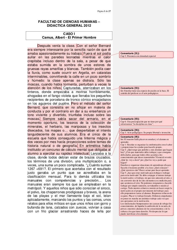 Página 1 de 27       FACULTAD DE CIENCIAS HUMANAS –           DIDACTICA GENERAL 2012                     CASO I         Ca...