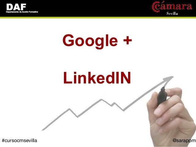 Google +                  LinkedIN#cursocmsevilla              @sarappm
