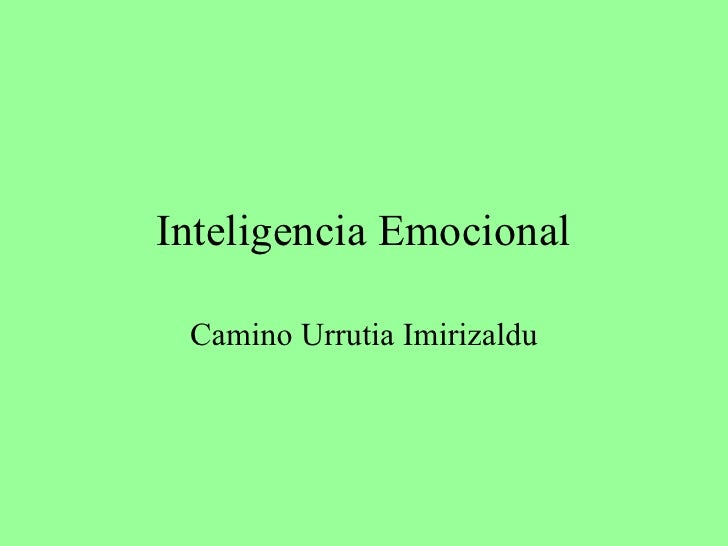 Inteligencia Emocional Camino Urrutia Imirizaldu