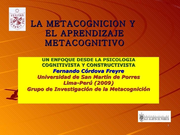 La metacognicion y el aprendizaje metacognitivo copia ppt 2003
