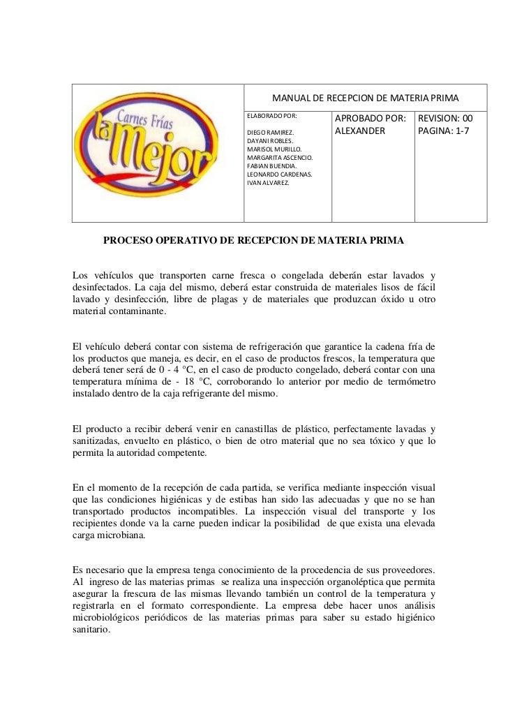 -16510-2045970MANUAL DE RECEPCION DE MATERIA PRIMAELABORADO POR: DIEGO RAMIREZ.          DAYANI ROBLES.        MARISOL MU...