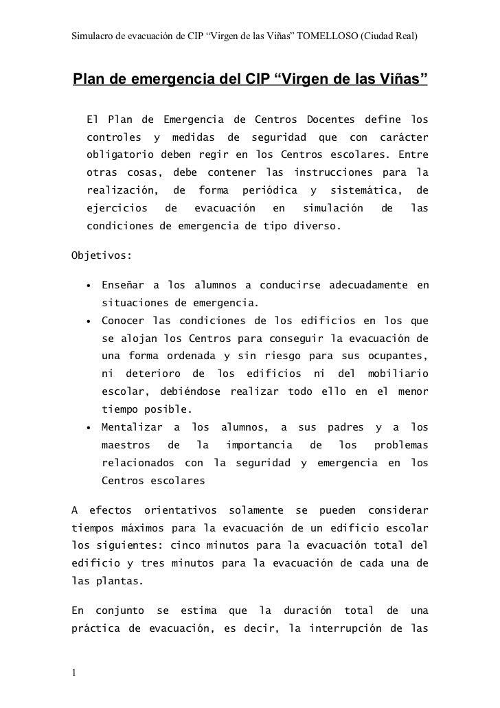 """Simulacro de evacuación de CIP """"Virgen de las Viñas"""" TOMELLOSO (Ciudad Real)Plan de emergencia del CIP """"Virgen de las Viña..."""