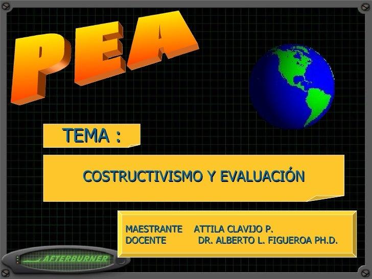 PEA TEMA : COSTRUCTIVISMO Y EVALUACIÓN MAESTRANTE  ATTILA CLAVIJO P. DOCENTE  DR. ALBERTO L. FIGUEROA PH.D.