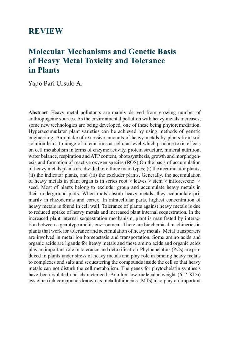 REVIEWMolecular Mechanisms and Genetic Basisof Heavy Metal Toxicity and Tolerancein PlantsYapo Pari Ursulo A.Abstract Heav...