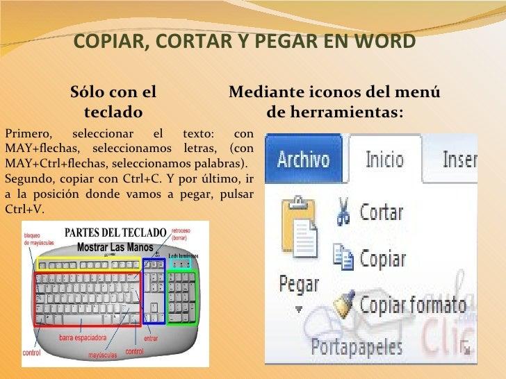 Copiar, cortar y pegar en word