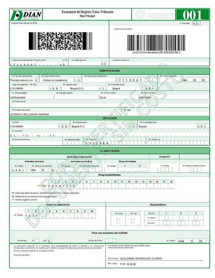 Formulario Registro Unico Tributario