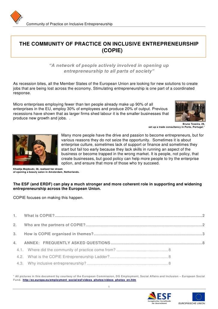 Community of Practice on Inclusive Entrepreneurship      THE COMMUNITY OF PRACTICE ON INCLUSIVE ENTREPRENEURSHIP          ...