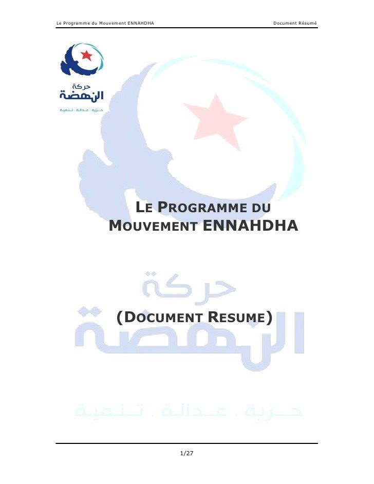 Le Programme du Mouvement ENNAHDHA          Document Résumé                    LE PROGRAMME DU                  MOUVEMENT ...