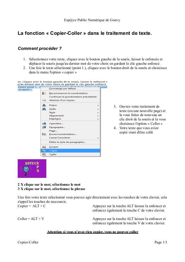 Esp@ce Public Numérique de GouvyLa fonction « Copier-Coller » dans le traitement de texte.Comment procéder ?   1. Sélectio...