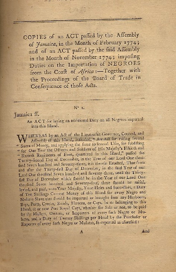 Copies Of An  Act  Passed By The  Assembly Of  Jamaica
