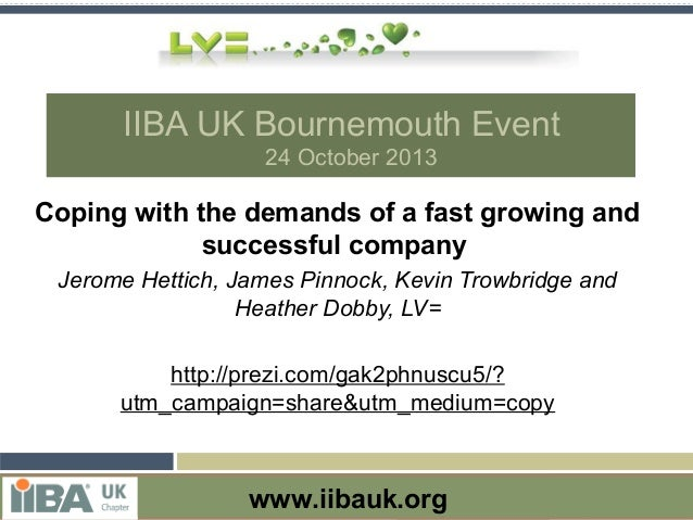 IIBA UK Bournemouth Event 24 October 2013  Coping with the demands of a fast growing and successful company Jerome Hettich...