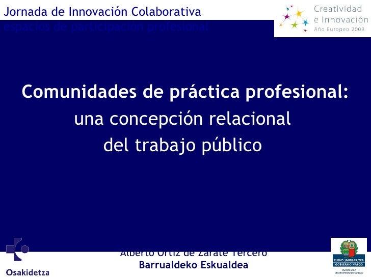 Comunidades de práctica profesional: una concepción relacional  del trabajo público   Jornada de Innovación Colaborativa e...